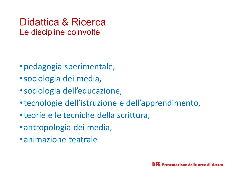 Didattica & Ricerca Le discipline coinvolte pedagogia sperimentale, sociologia dei media, sociologia dell'educazione, tecnologie dell'istruzione e del