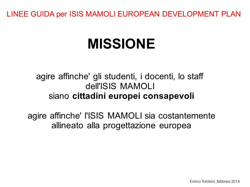 Enrico Tombini, febbraio 2014 MISSIONE agire affinche' gli studenti, i docenti, lo staff dell'ISIS MAMOLI siano cittadini europei consapevoli agire af