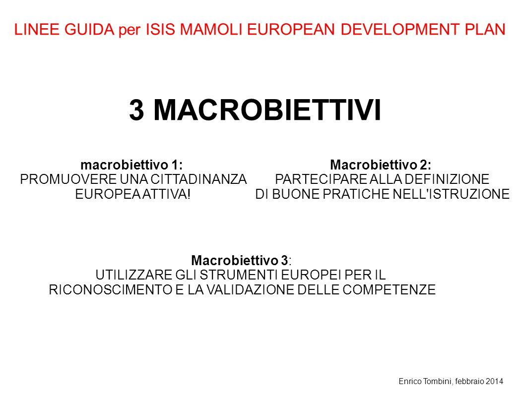 Enrico Tombini, febbraio 2014 3 MACROBIETTIVI Macrobiettivo 3: UTILIZZARE GLI STRUMENTI EUROPEI PER IL RICONOSCIMENTO E LA VALIDAZIONE DELLE COMPETENZ