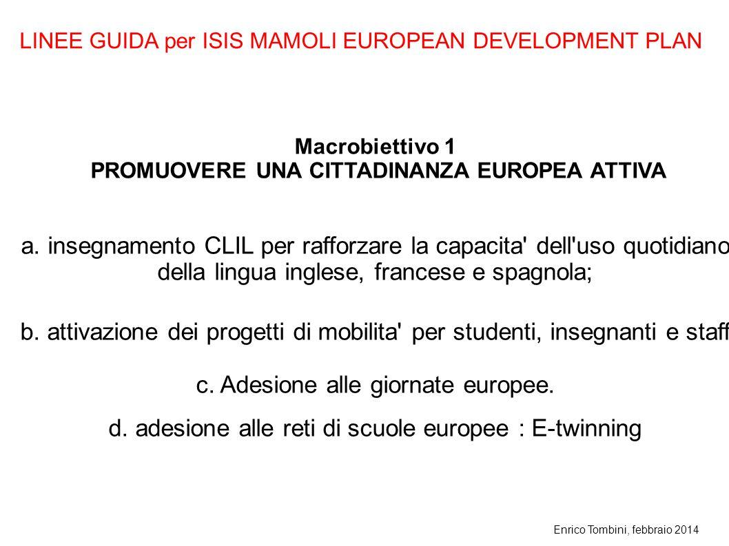 Enrico Tombini, febbraio 2014 Macrobiettivo 1 PROMUOVERE UNA CITTADINANZA EUROPEA ATTIVA a. insegnamento CLIL per rafforzare la capacita' dell'uso quo
