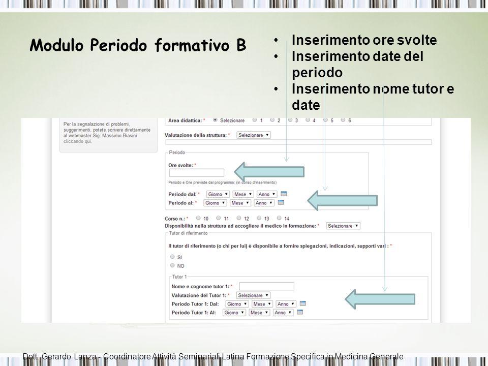 Modulo periodo formativo C Domande preimpostate Campi liberi