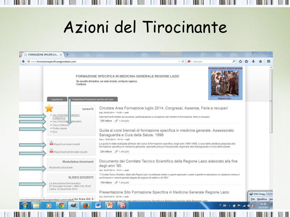Tirocinanti: visualizzazione e modifica della valutazione seminari e periodi formativi 1 2 modifica visualizzazione