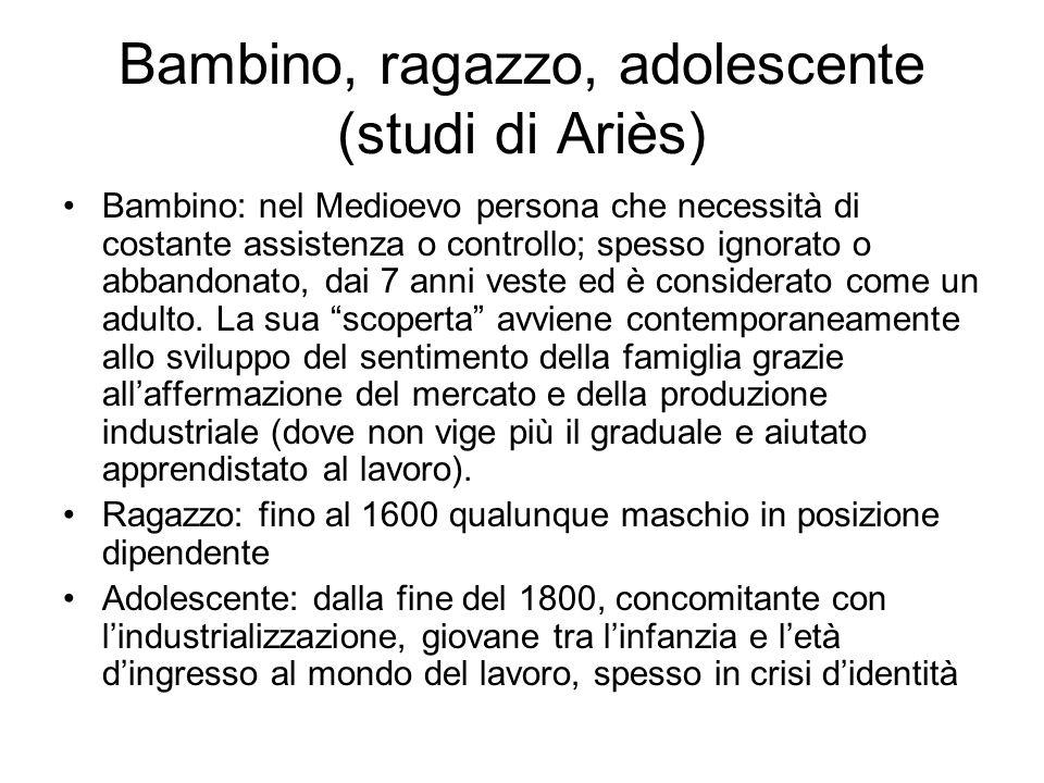 Bambino, ragazzo, adolescente (studi di Ariès) Bambino: nel Medioevo persona che necessità di costante assistenza o controllo; spesso ignorato o abban