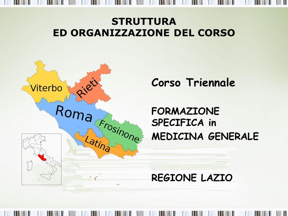 STRUTTURA ED ORGANIZZAZIONE DEL CORSO Corso Triennale FORMAZIONE SPECIFICA in MEDICINA GENERALE REGIONE LAZIO