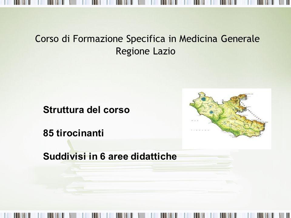 Corso di Formazione Specifica in Medicina Generale Regione Lazio Struttura del corso 85 tirocinanti Suddivisi in 6 aree didattiche