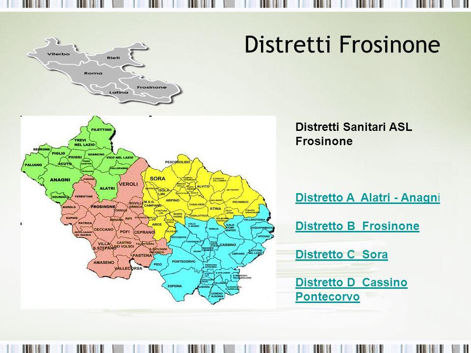 Distretti Frosinone Distretti Sanitari ASL Frosinone Distretto A Alatri - Anagni Distretto B Frosinone Distretto C Sora Distretto D Cassino Pontecorvo