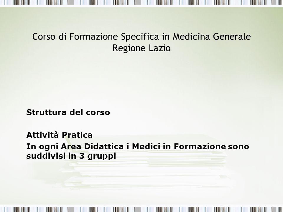 Corso di Formazione Specifica in Medicina Generale Regione Lazio Struttura del corso Attività Pratica In ogni Area Didattica i Medici in Formazione so