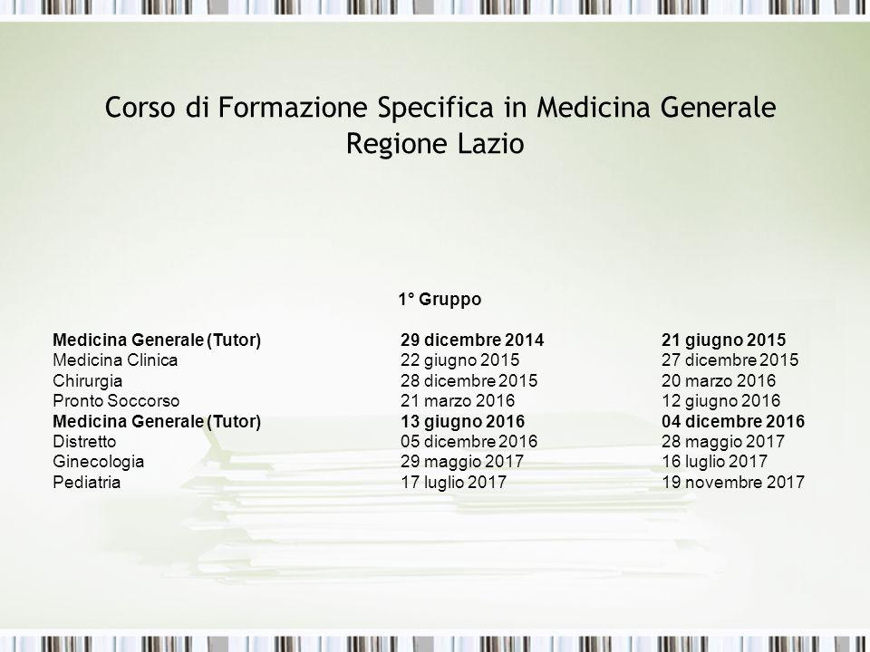 Corso di Formazione Specifica in Medicina Generale Regione Lazio 1° Gruppo Medicina Generale (Tutor)29 dicembre 2014 21 giugno 2015 Medicina Clinica22