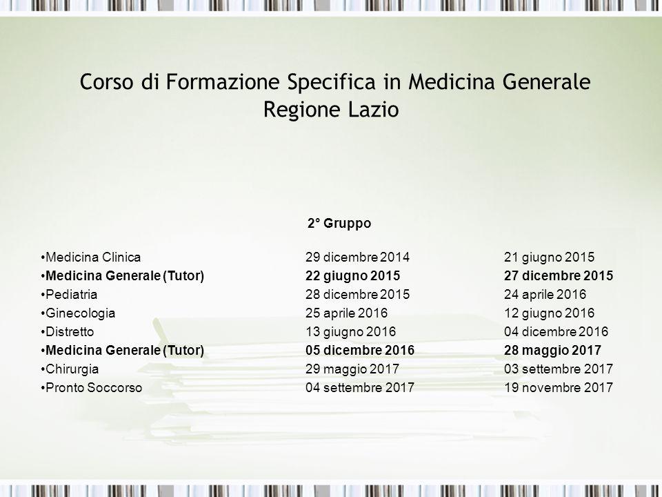Corso di Formazione Specifica in Medicina Generale Regione Lazio 2° Gruppo Medicina Clinica29 dicembre 2014 21 giugno 2015 Medicina Generale (Tutor)22