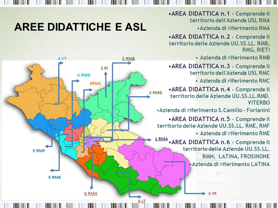 AREA DIDATTICA n.1 - Comprende il territorio dell'Azienda USL RMA Azienda di riferimento RMA AREA DIDATTICA n.2 - Comprende il territorio delle Aziend