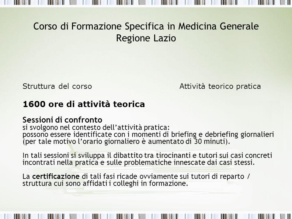 Corso di Formazione Specifica in Medicina Generale Regione Lazio Struttura del corso Attività teorico pratica 1600 ore di attività teorica Sessioni di