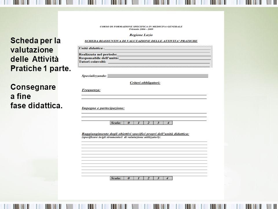 Scheda per la valutazione delle Attività Pratiche 1 parte. Consegnare a fine fase didattica.