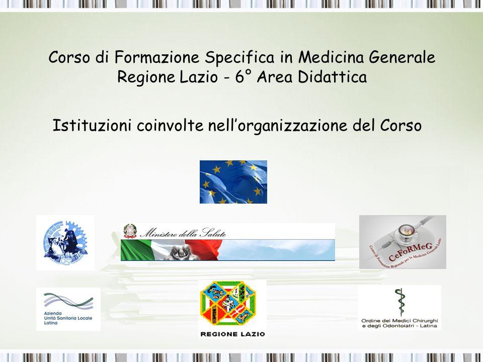 Corso di Formazione Specifica in Medicina Generale Regione Lazio - 6° Area Didattica Istituzioni coinvolte nell'organizzazione del Corso