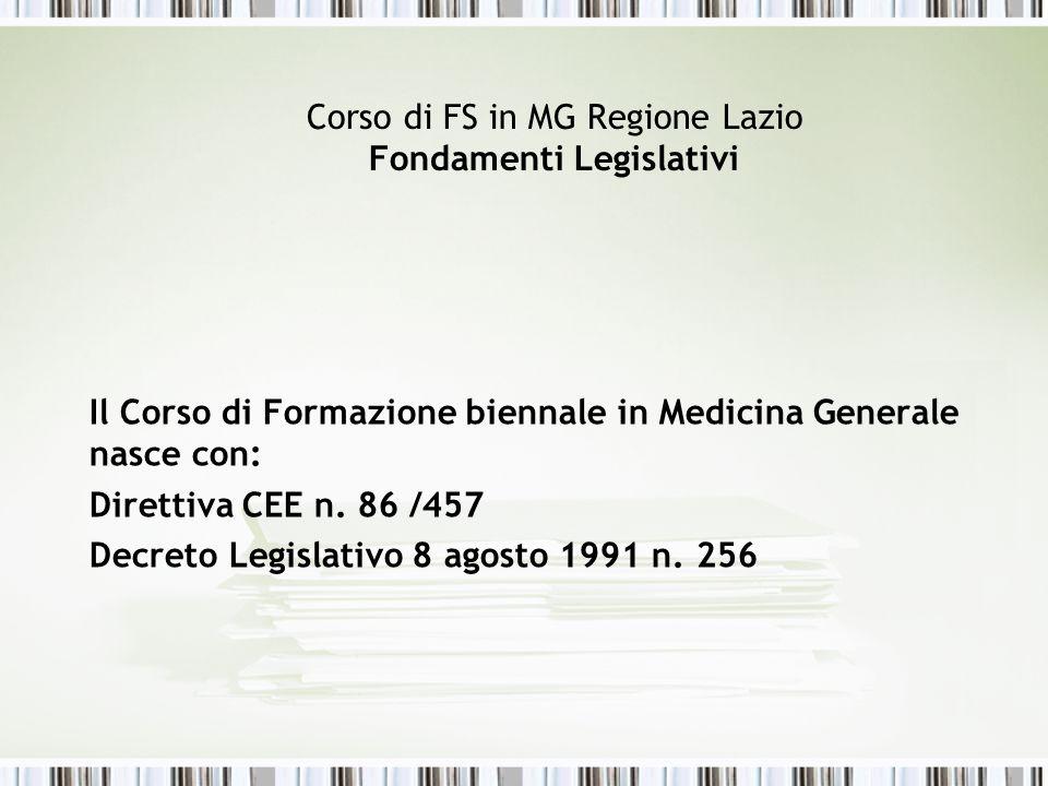 Corso di FS in MG Regione Lazio Fondamenti Legislativi Il Corso di Formazione biennale in Medicina Generale nasce con: Direttiva CEE n. 86 /457 Decret