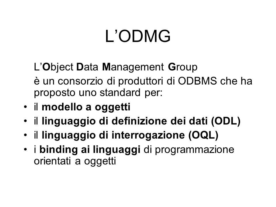 L'ODMG L'Object Data Management Group è un consorzio di produttori di ODBMS che ha proposto uno standard per: il modello a oggetti il linguaggio di definizione dei dati (ODL) il linguaggio di interrogazione (OQL) i binding ai linguaggi di programmazione orientati a oggetti