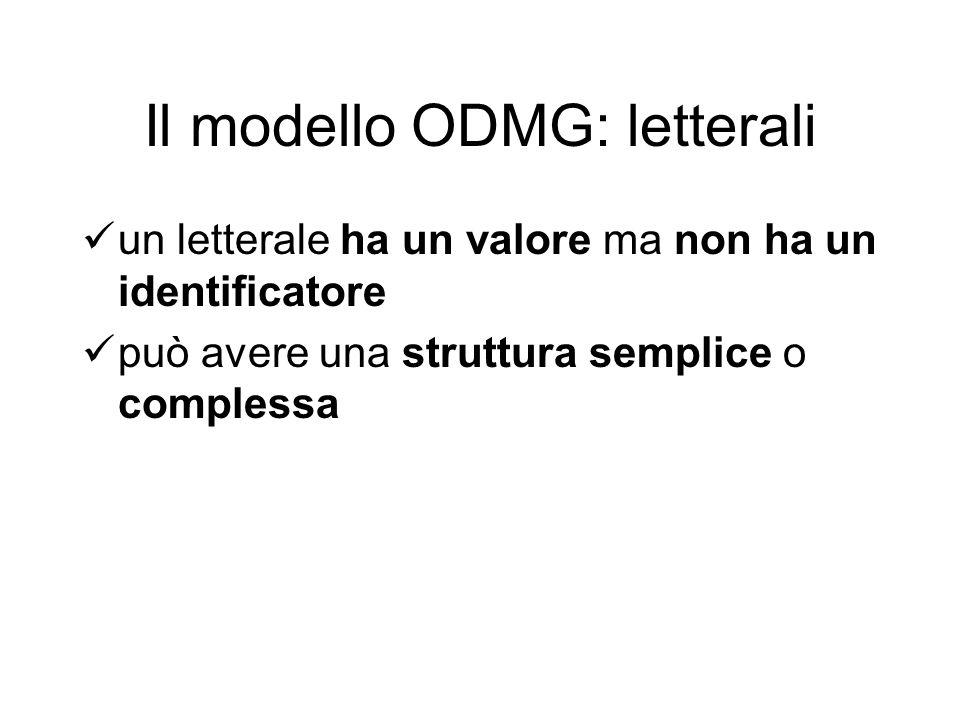 Il modello ODMG: letterali un letterale ha un valore ma non ha un identificatore può avere una struttura semplice o complessa