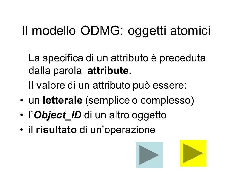 Il modello ODMG: oggetti atomici La specifica di un attributo è preceduta dalla parola attribute.