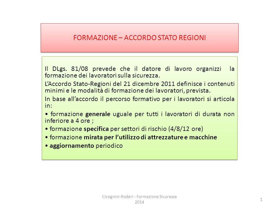 FORMAZIONE – ACCORDO STATO REGIONI Il DLgs. 81/08 prevede che il datore di lavoro organizzi la formazione dei lavoratori sulla sicurezza. L'Accordo St