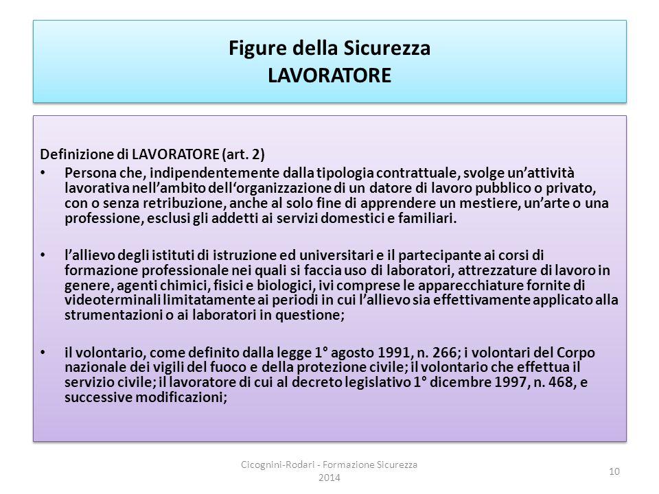 Figure della Sicurezza LAVORATORE Definizione di LAVORATORE (art. 2) Persona che, indipendentemente dalla tipologia contrattuale, svolge un'attività l