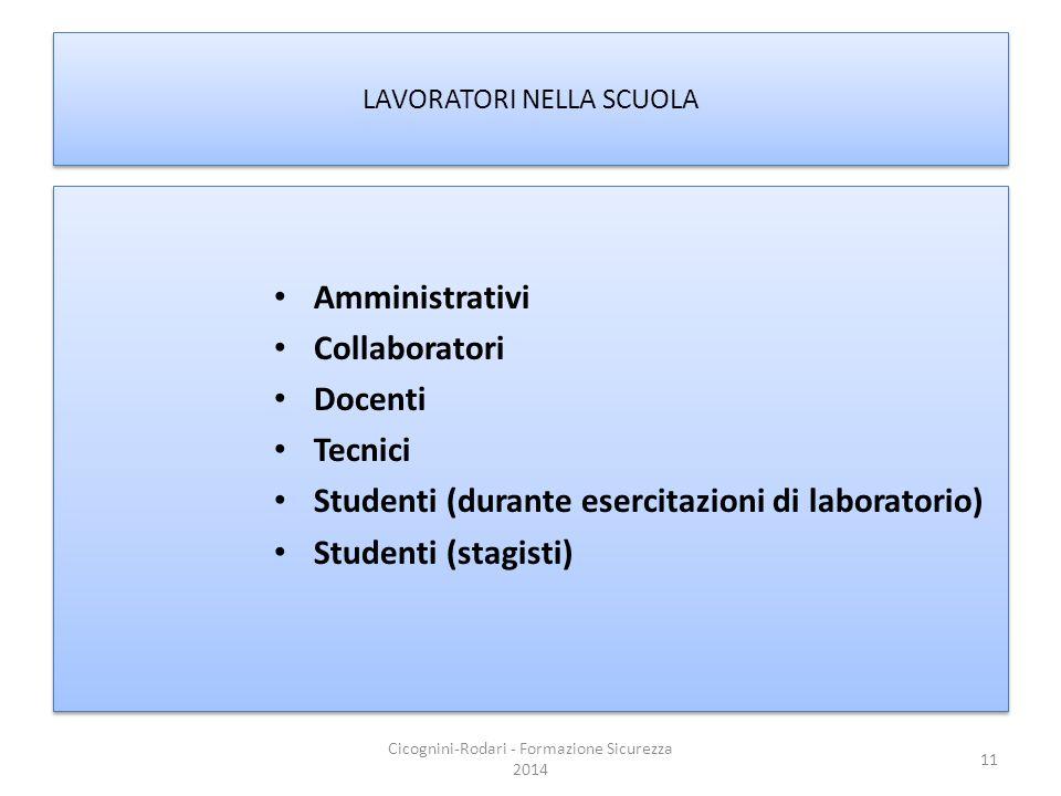 LAVORATORI NELLA SCUOLA Amministrativi Collaboratori Docenti Tecnici Studenti (durante esercitazioni di laboratorio) Studenti (stagisti) Amministrativ