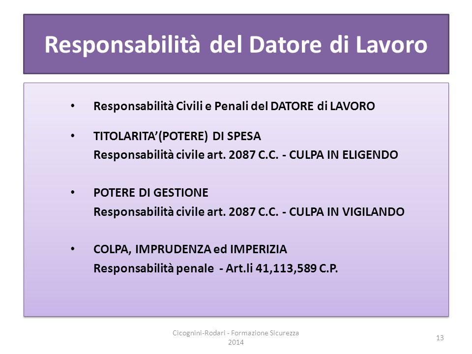 Responsabilità del Datore di Lavoro Responsabilità Civili e Penali del DATORE di LAVORO TITOLARITA'(POTERE) DI SPESA Responsabilità civile art. 2087 C