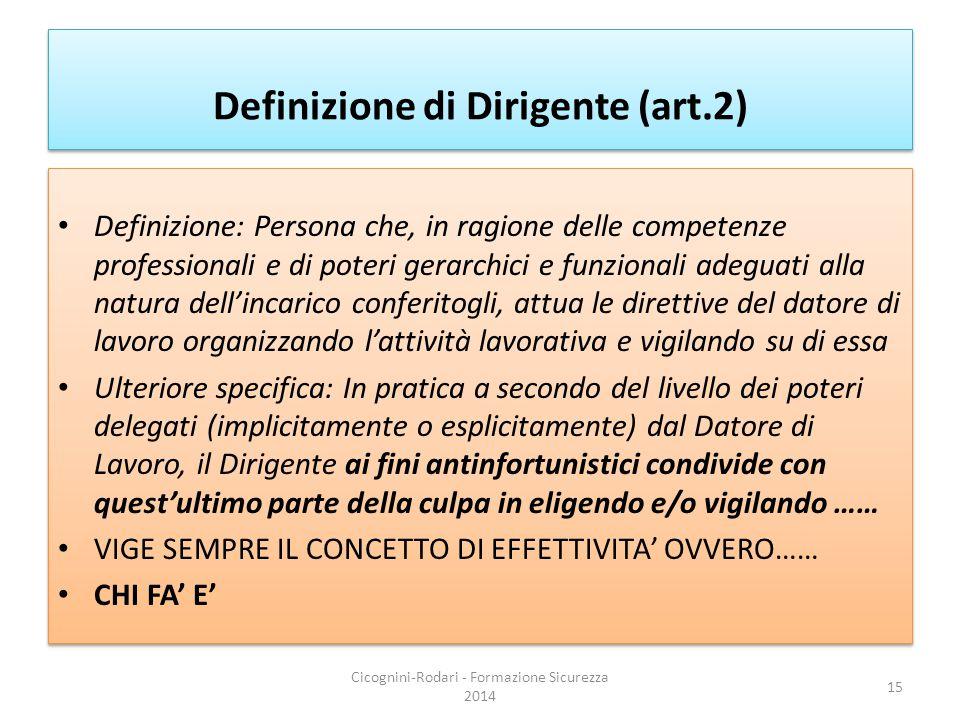 Definizione di Dirigente (art.2) Definizione: Persona che, in ragione delle competenze professionali e di poteri gerarchici e funzionali adeguati alla