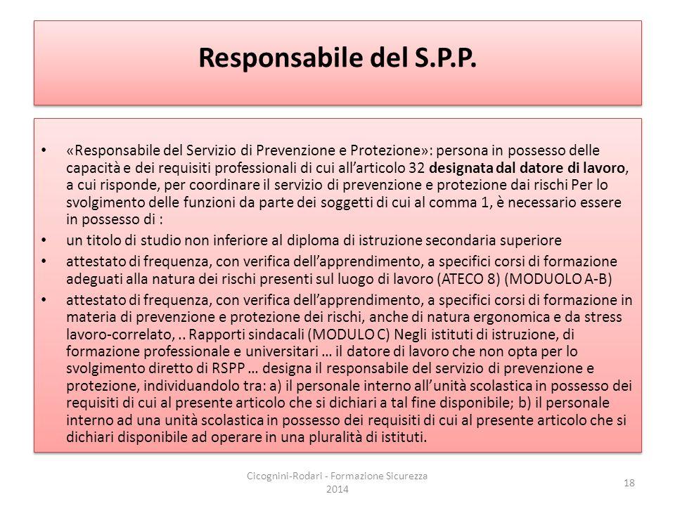 Responsabile del S.P.P. «Responsabile del Servizio di Prevenzione e Protezione»: persona in possesso delle capacità e dei requisiti professionali di c
