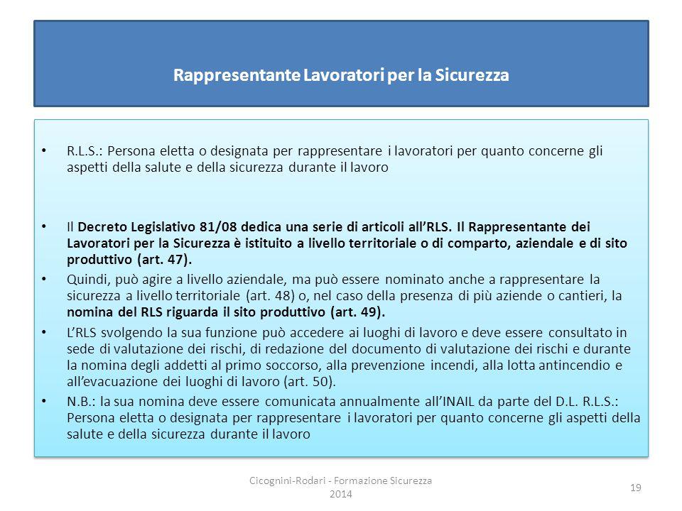 Rappresentante Lavoratori per la Sicurezza R.L.S.: Persona eletta o designata per rappresentare i lavoratori per quanto concerne gli aspetti della sal