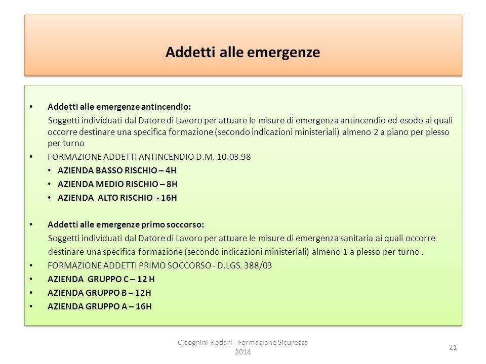 Addetti alle emergenze Addetti alle emergenze antincendio: Soggetti individuati dal Datore di Lavoro per attuare le misure di emergenza antincendio ed