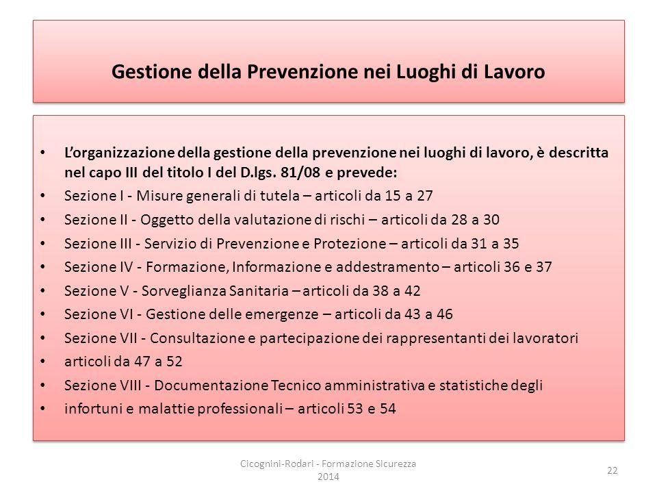 Gestione della Prevenzione nei Luoghi di Lavoro L'organizzazione della gestione della prevenzione nei luoghi di lavoro, è descritta nel capo III del t