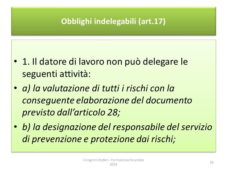 Obblighi indelegabili (art.17) 1. Il datore di lavoro non può delegare le seguenti attività: a) la valutazione di tutti i rischi con la conseguente el