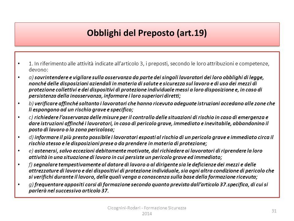 Obblighi del Preposto (art.19) 1. In riferimento alle attività indicate all'articolo 3, i preposti, secondo le loro attribuzioni e competenze, devono: