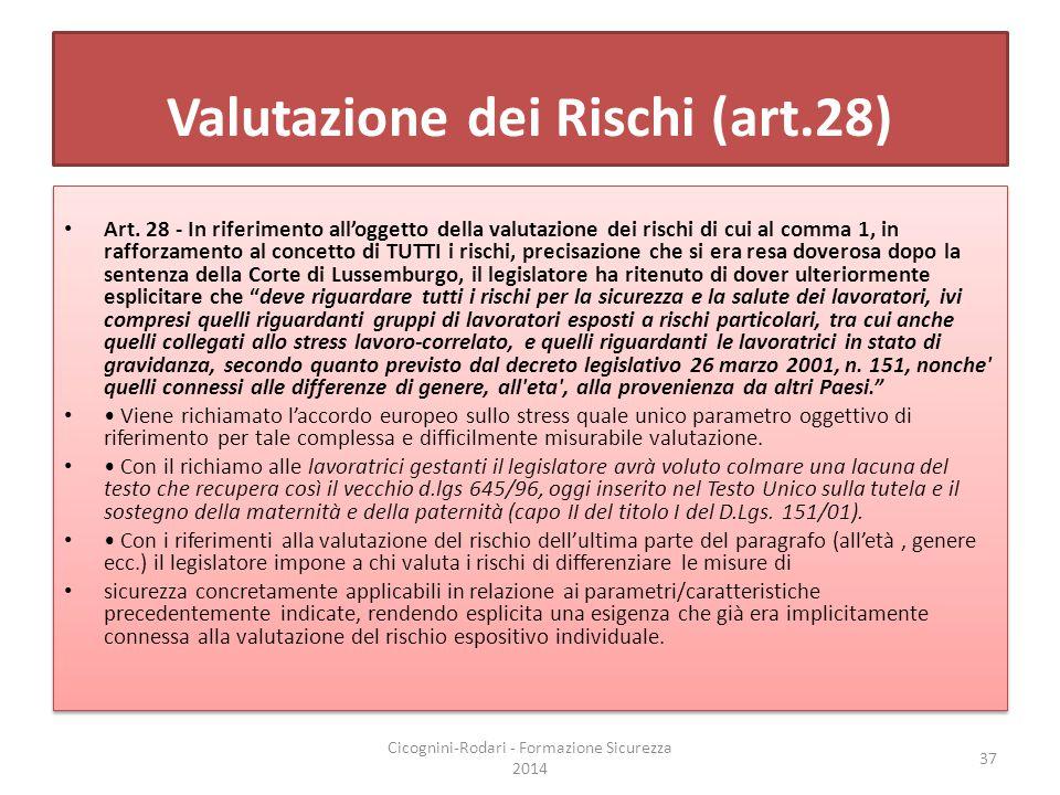 Valutazione dei Rischi (art.28) Art. 28 - In riferimento all'oggetto della valutazione dei rischi di cui al comma 1, in rafforzamento al concetto di T
