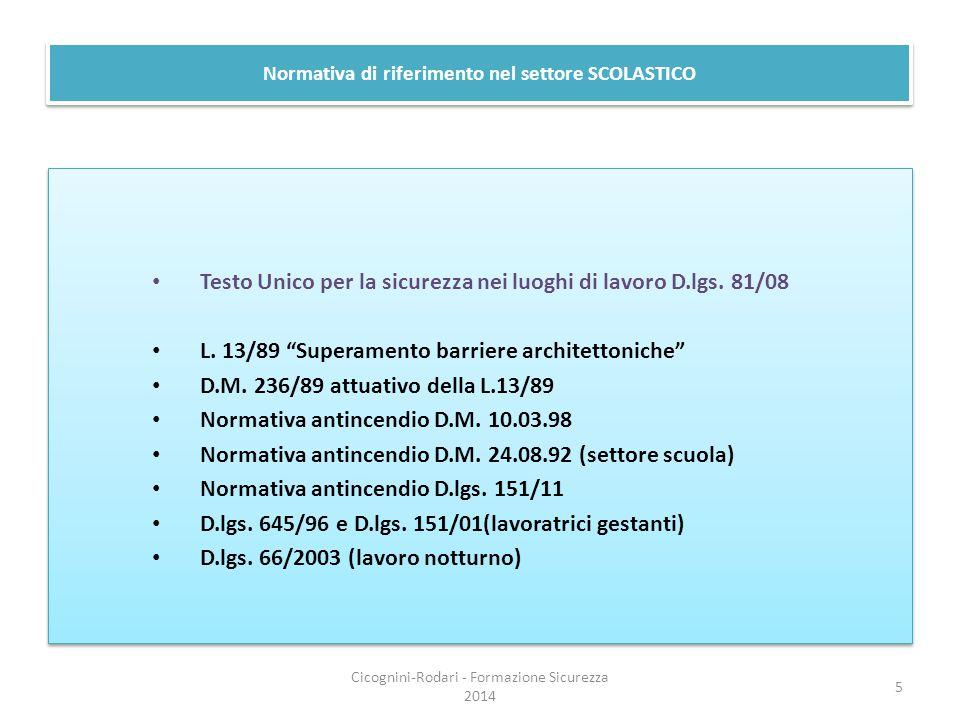 """Normativa di riferimento nel settore SCOLASTICO Testo Unico per la sicurezza nei luoghi di lavoro D.lgs. 81/08 L. 13/89 """"Superamento barriere architet"""