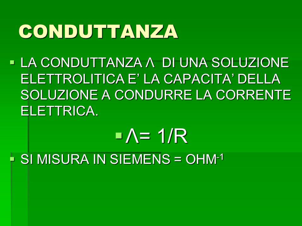 CONDUTTANZA  LA CONDUTTANZA Λ DI UNA SOLUZIONE ELETTROLITICA E' LA CAPACITA' DELLA SOLUZIONE A CONDURRE LA CORRENTE ELETTRICA.  Λ= 1/R  SI MISURA I