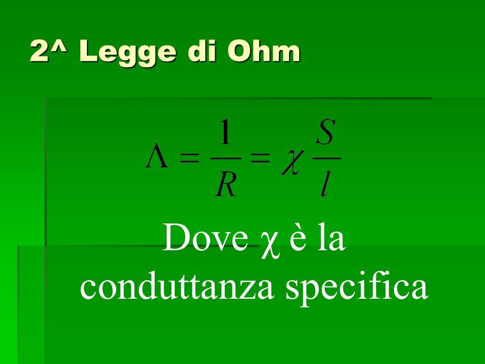 2^ Legge di Ohm Dove χ è la conduttanza specifica