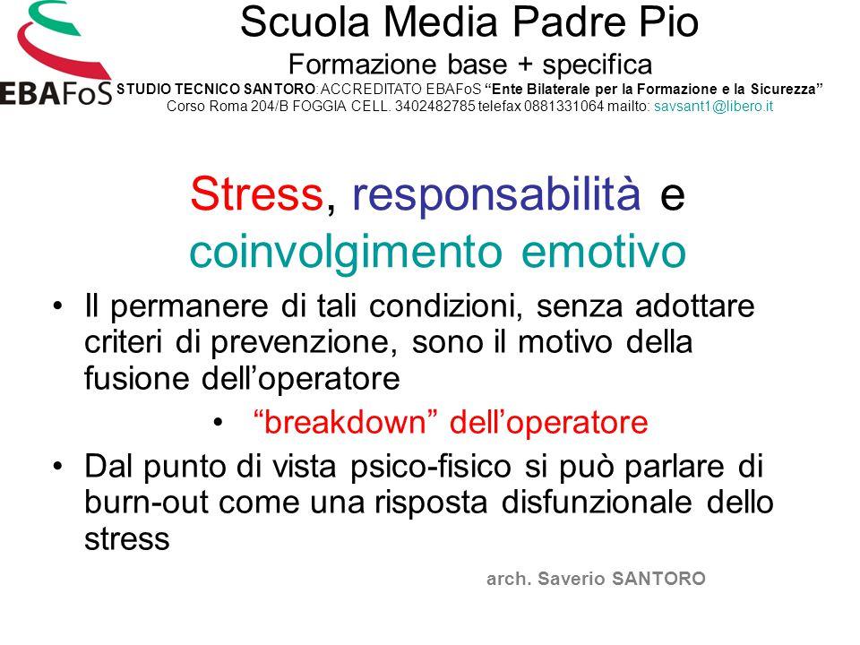 Stress, responsabilità e coinvolgimento emotivo Il permanere di tali condizioni, senza adottare criteri di prevenzione, sono il motivo della fusione d
