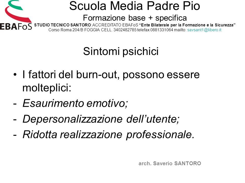 Sintomi psichici I fattori del burn-out, possono essere molteplici: -Esaurimento emotivo; -Depersonalizzazione dell'utente; -Ridotta realizzazione pro