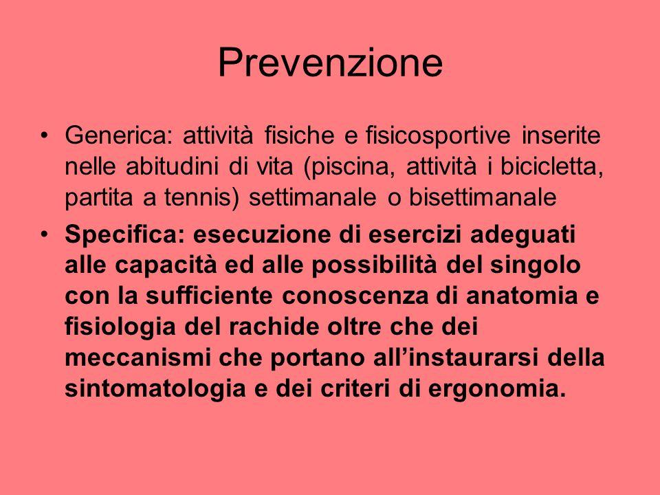 Prevenzione Generica: attività fisiche e fisicosportive inserite nelle abitudini di vita (piscina, attività i bicicletta, partita a tennis) settimanal