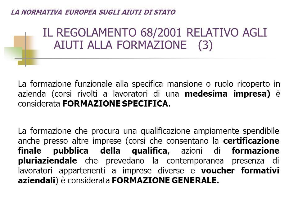LA NORMATIVA EUROPEA SUGLI AIUTI DI STATO IL REGOLAMENTO 68/2001 RELATIVO AGLI AIUTI ALLA FORMAZIONE (3) La formazione funzionale alla specifica mansi