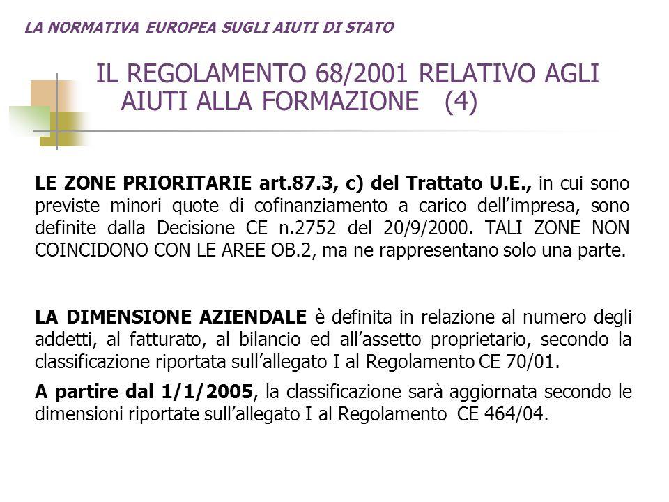 LA NORMATIVA EUROPEA SUGLI AIUTI DI STATO IL REGOLAMENTO 68/2001 RELATIVO AGLI AIUTI ALLA FORMAZIONE (4) LE ZONE PRIORITARIE art.87.3, c) del Trattato U.E., in cui sono previste minori quote di cofinanziamento a carico dell'impresa, sono definite dalla Decisione CE n.2752 del 20/9/2000.