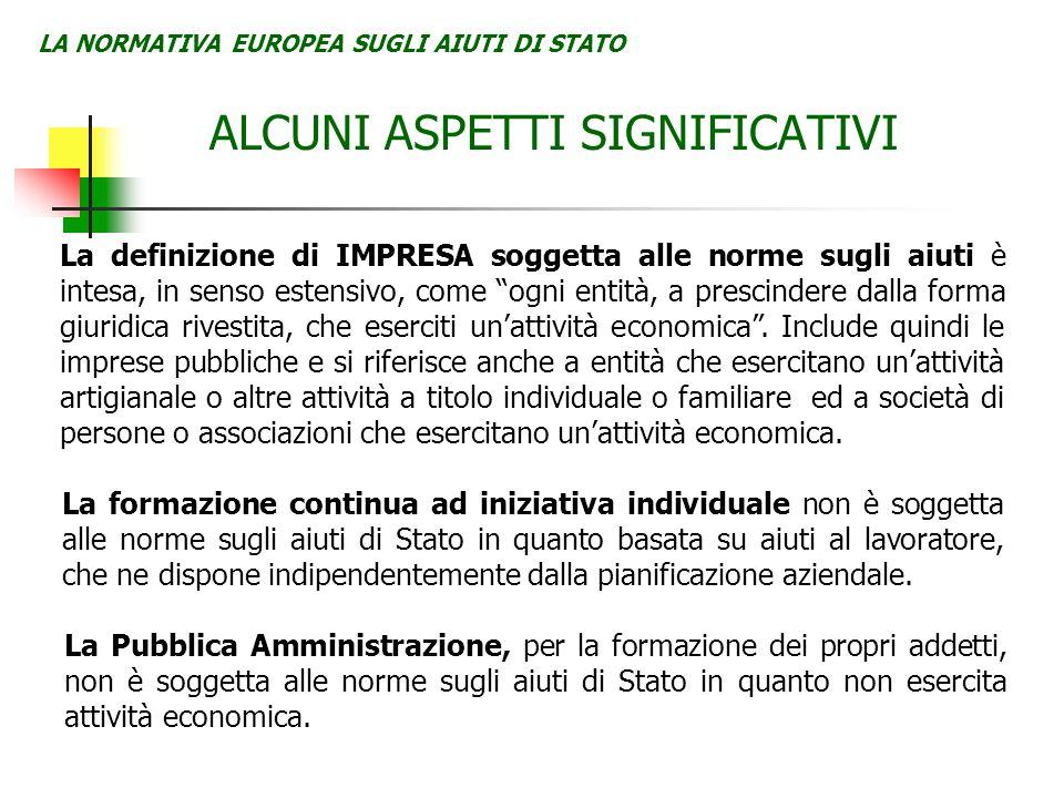 LA NORMATIVA EUROPEA SUGLI AIUTI DI STATO ALCUNI ASPETTI SIGNIFICATIVI La definizione di IMPRESA soggetta alle norme sugli aiuti è intesa, in senso es