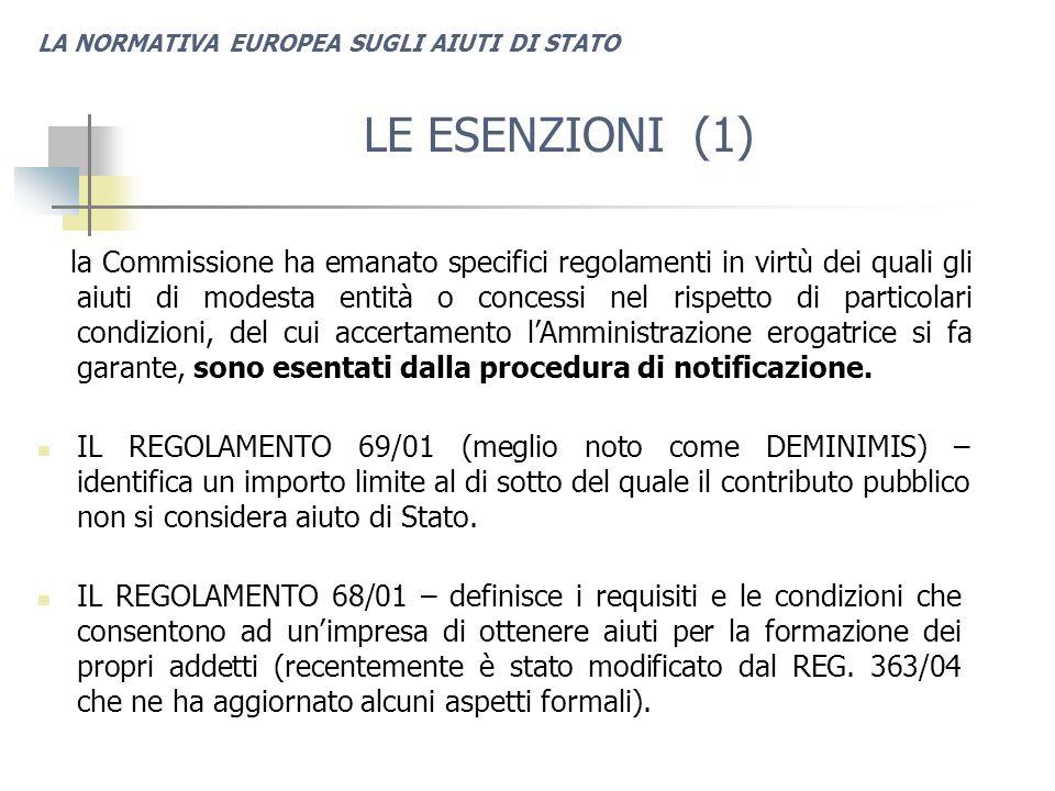 LA NORMATIVA EUROPEA SUGLI AIUTI DI STATO LE ESENZIONI (1) la Commissione ha emanato specifici regolamenti in virtù dei quali gli aiuti di modesta entità o concessi nel rispetto di particolari condizioni, del cui accertamento l'Amministrazione erogatrice si fa garante, sono esentati dalla procedura di notificazione.