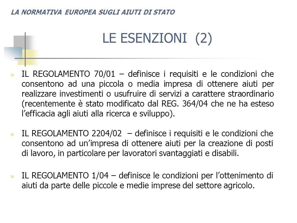 LA NORMATIVA EUROPEA SUGLI AIUTI DI STATO LE ESENZIONI (2) IL REGOLAMENTO 70/01 – definisce i requisiti e le condizioni che consentono ad una piccola