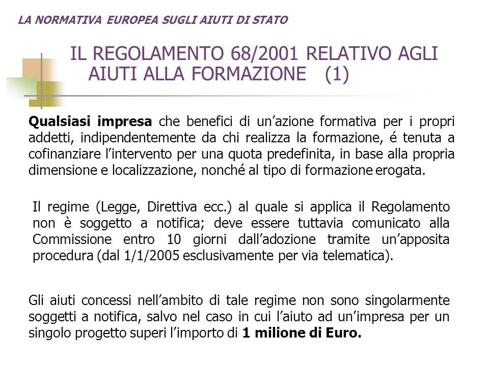 LA NORMATIVA EUROPEA SUGLI AIUTI DI STATO IL REGOLAMENTO 68/2001 RELATIVO AGLI AIUTI ALLA FORMAZIONE (1) Qualsiasi impresa che benefici di un'azione f