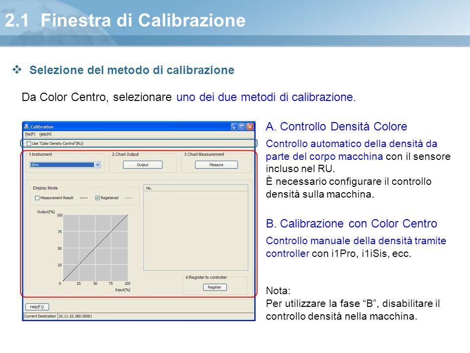 2.1 Finestra di Calibrazione Da Color Centro, selezionare uno dei due metodi di calibrazione. A. Controllo Densità Colore Controllo automatico della d