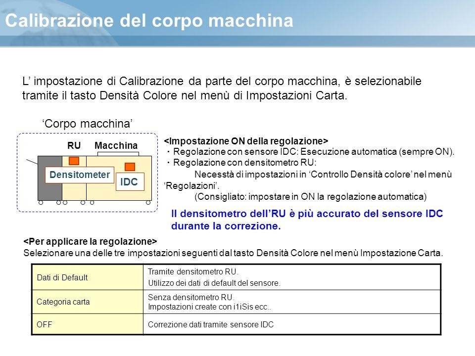 Calibrazione del corpo macchina RUMacchina IDC Densitometer Selezionare una delle tre impostazioni seguenti dal tasto Densità Colore nel menù Impostaz