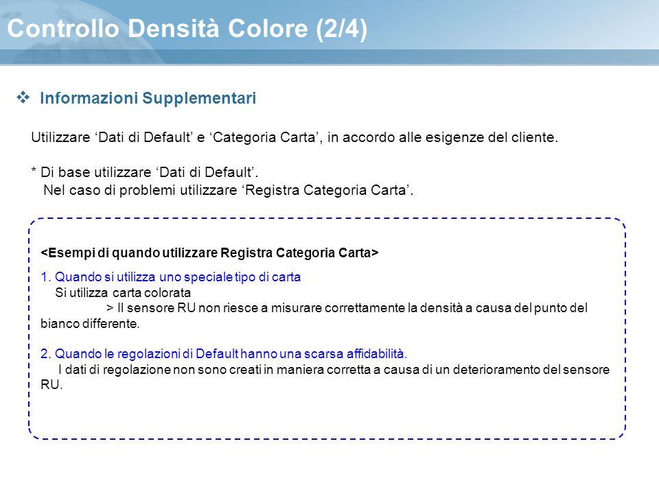 Controllo Densità Colore (2/4) Utilizzare 'Dati di Default' e 'Categoria Carta', in accordo alle esigenze del cliente. * Di base utilizzare 'Dati di D