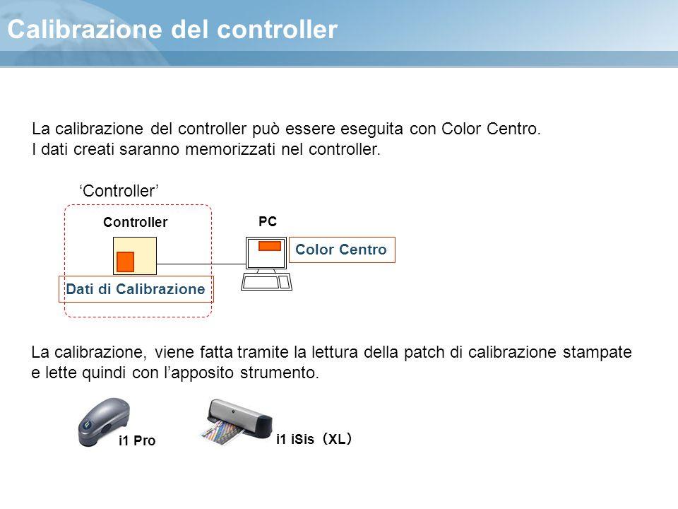 Calibrazione del controller Controller PC Dati di Calibrazione Color Centro 'Controller' La calibrazione del controller può essere eseguita con Color