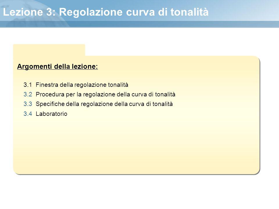 Argomenti della lezione: Lezione 3: Regolazione curva di tonalità 3.1 Finestra della regolazione tonalità 3.2 Procedura per la regolazione della curva
